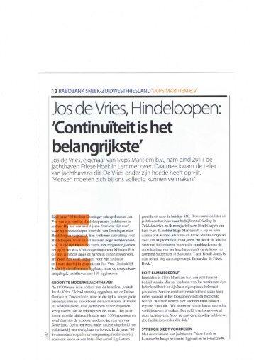 Jos de Vries, Hindeloopen: 'Continuīteit is het belangrijkste'