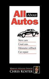 All About Autos consumer guide - Missouri Attorney General