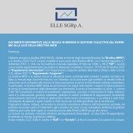 documento informativo sulle regole in materia di ... - Elle Sgrp.a.