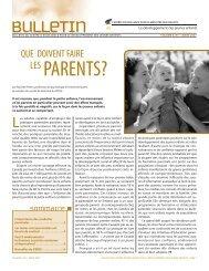 Que doivent faire les parents? - Centre d'excellence pour le ...