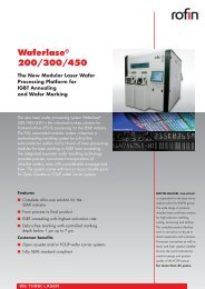 Waferlase® 200/300/450 Specifications - Rofin