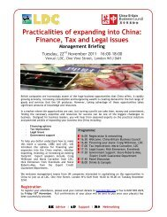 Practicalities of expanding into China: Finance, Tax and Legal ... - LDC
