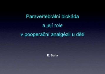 paravertebrální blokáda u dětí a její role v poperační analgezii