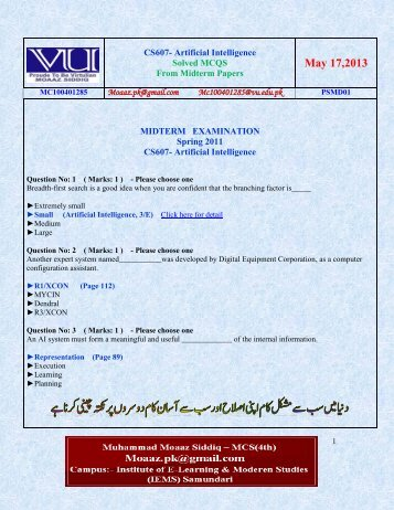 cs301 midterm solved papers 1 cs301- data structures latest solved subjectives from midterm papers dec 09,2011 mc100401285 moaazpk@gmailcom mc100401285@gmailcom psmd01 mc110200030 awais4you@gmailcom plhr25.