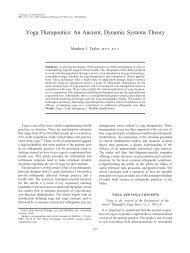 Yoga Therapeutics: An Ancient, Dynamic ... - Matthew J. Taylor