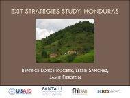 EXIT STRATEGIES STUDY: HONDURAS - FSN Network Portal