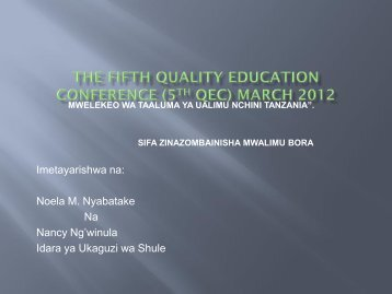 the fifth quality education conference (5th qec) march 2012