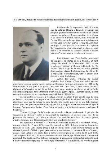 Paul cabanis par Jean Richard - Communauté de communes du ...