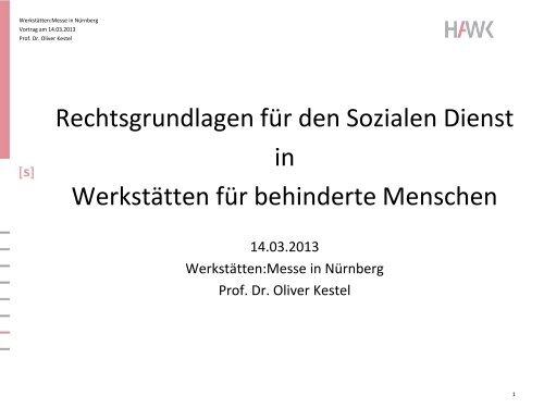Rechtsgrundlagen für den Sozialen Dienst in Werkstätten für ...