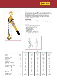 Capacity daN/kg 750 1500 3000 6000 9000 Test load daN/kg 1125 ...