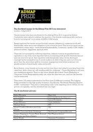Admap Prize 2013 Shortlist Announced - Warc