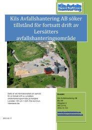 Kils Avfallshantering AB söker tillstånd för fortsatt drift av Lersätters ...