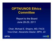 Ethics Committee Report - Transplant Pro