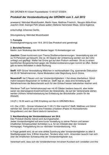 Protokoll vom 3.7.2012 - Die Grünen Essen