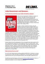 Mitglieder Info 3 13. November 2012 Liebe Genossinnen und ...