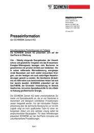 Presseinformation - SCHWENK Zement KG