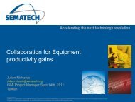 Collaboration for Equipment Productivity Gains - Sematech