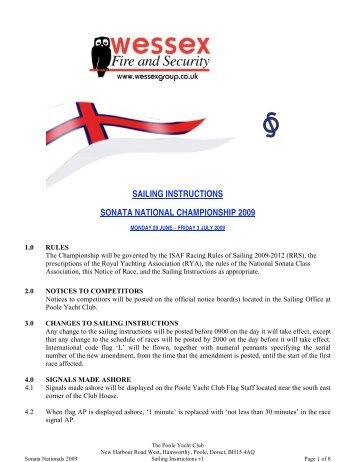 SAILING INSTRUCTIONS SONATA NATIONAL CHAMPIONSHIP 2009