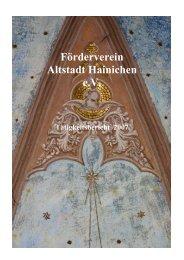 Tätigkeitsbericht 2007 - Förderverein Altstadt Hainichen ev