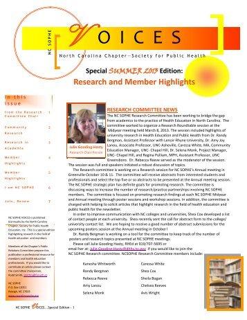 Summer Newsletter 2013 - sophe - Society for Public Health Education