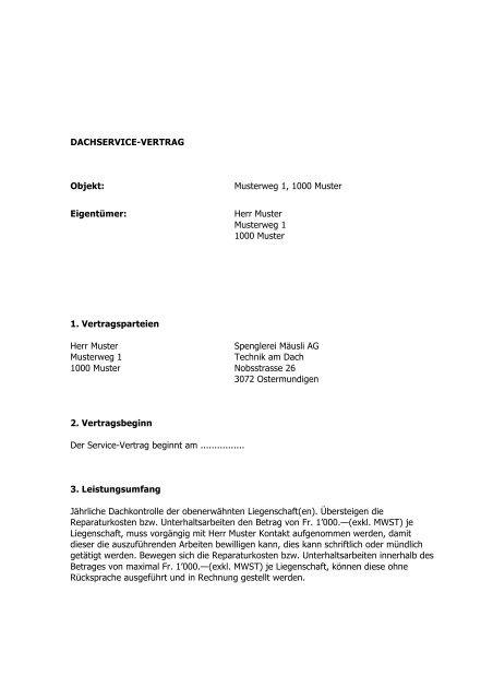 Dachservice Vertrag Objekt Musterweg 1 1000 Muster