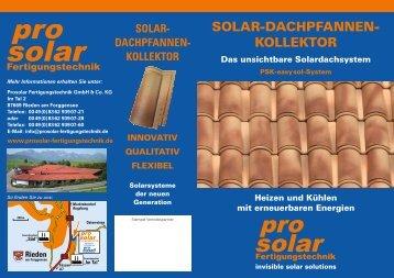 SOLAR-DACHPFANNEN- KOLLEKTOR - ProSolar Fertigungstechnik