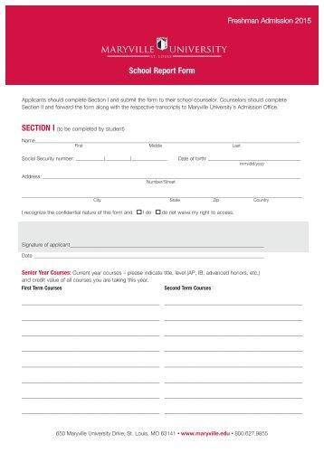 Printable Secondary School Report Form - Maryville University