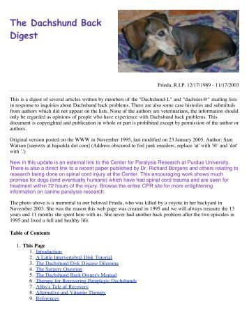 The Dachshund Back Digest - The Dachshund Rescue Web Page