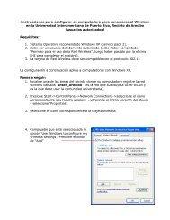 Configuración para Windows XP - Recinto de Arecibo - Universidad ...