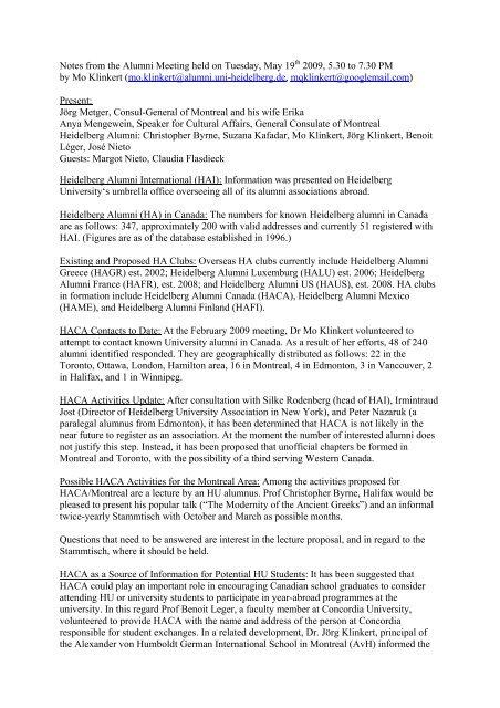 Minutes (pdf-file) - Heidelberg Alumni International