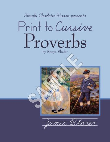 Print to Cursive Proverbs sample - Simply Charlotte Mason