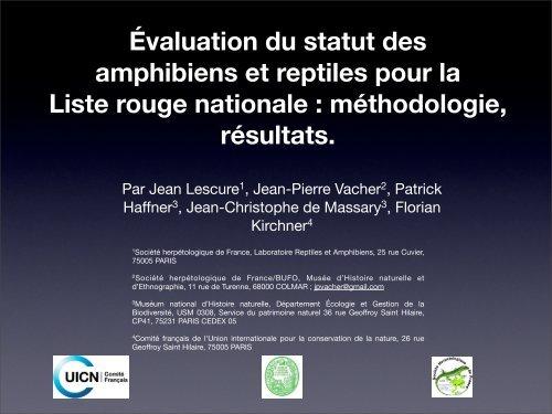 Évaluation du statut des amphibiens et reptiles pour la ... - Natagora