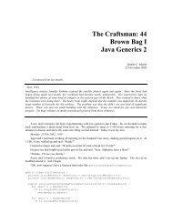 The Craftsman: 44 Brown Bag I Java Generics 2 - Object Mentor