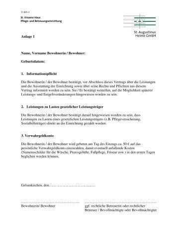 Anlage 1-4 Vertrag zur vollstationären Pflegeeinrichtung