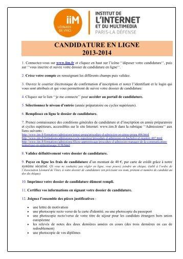 Modalités de candidature en ligne - IIM