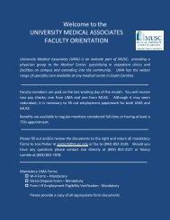 the UNIVERSITY MEDICAL ASSOCIATES FACULTY ORIENTATION