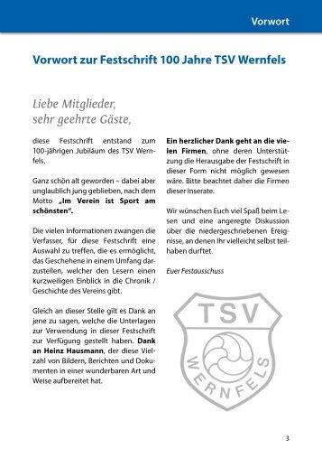 Vorwort zur Festschrift 100 Jahre TSV Wernfels