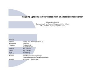 Regeling Opleidingen Operatieassistent en Anesthesiemedewerker