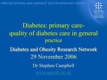 Diabetes: primary care- quality of diabetes care in general