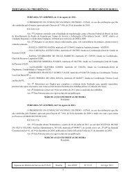 PORTARIAS DA PRESIDÊNCIA PUBLICADO EM 18.08.11 - Funai