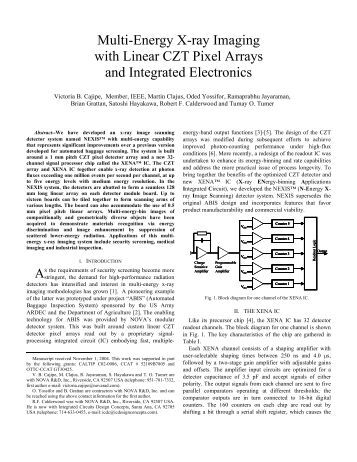 Multi-Energy X-ray Imaging with Linear CZT Pixel ... - NOVA R & D, Inc.