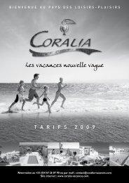 Tarifs 2009 - Coralia