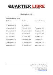 Calendrier 2010 – 2011 Session Automne 2010 - Quartier Libre
