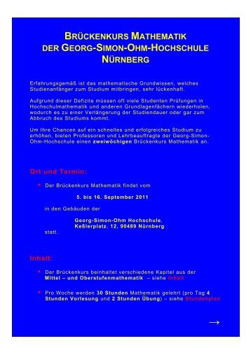 brückenkurs mathematik der georg-simon-ohm-hochschule nürnberg
