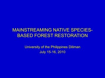 mainstreaming native species-based forest ... - Rainforestation
