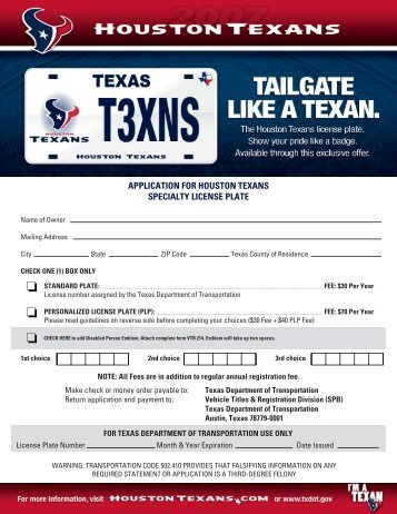 application for houston texans specialty license plate - Home Page ...