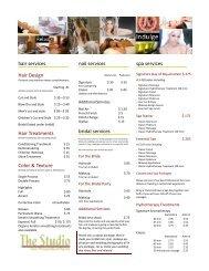 Salon price menu - The Studio Salon, Photography and Day Spa