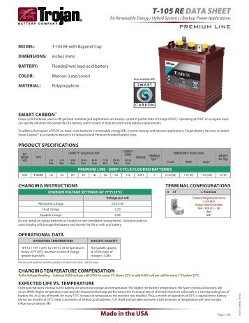 T105-RE DATA SHEET - Trojan Battery Company
