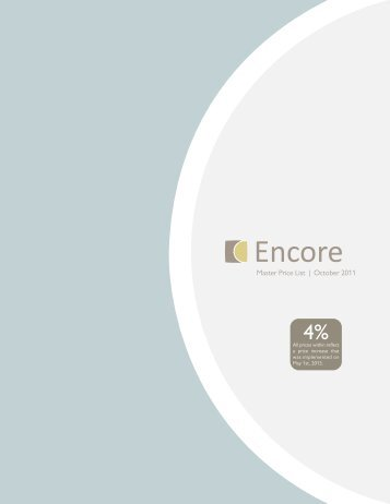 Master Price List | October 2011 - Encore Seating