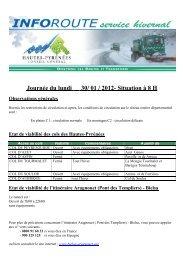 Journée du lundi 30/ 01 / 2012- Situation à 8 H - Tarbes-Infos